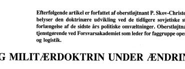 SNG MILITÆRDOKTRIN UNDER ÆNDRING?