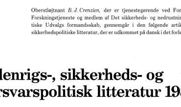 Udenrigs-, sikkerheds- og forsvarspolitisk litteratur 1988