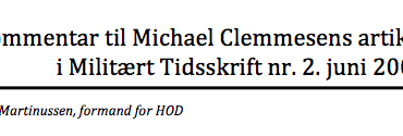 Kommentar til Michael Clemmesens artikel i Militært Tidsskrift nr. 2 2003