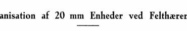 Organisation af 20 mm Enheder ved Felthæren