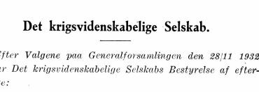 Det Krigsvidenskabelige Selskabs Bestyrelse 1932