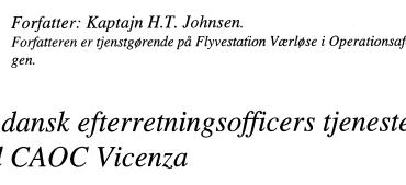 En dansk efterretningsofficers tjeneste ved CAOC Vicenza