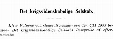 Det krigsvidenskabelige Selskabs Bestyrelse 1933