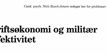 Driftsøkonomi og militær effektivitet