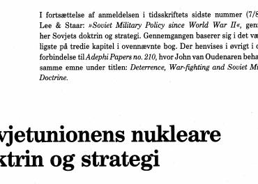 Sovjetunionens nukleare doktrin og strategi
