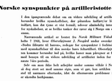 Norske synspunkter på artilleristøtte