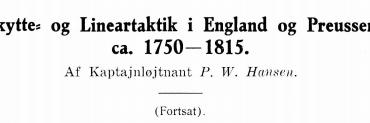 Skytte- og Lineartaktik i England og Preussen ca. 1750-1815 (fortsat)