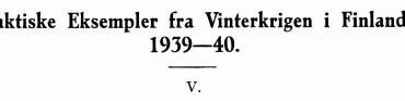Taktiske Eksempler fra Vinterkrigen i Finland 1939—40