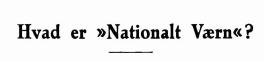 Hvad er »Nationalt Værn«?