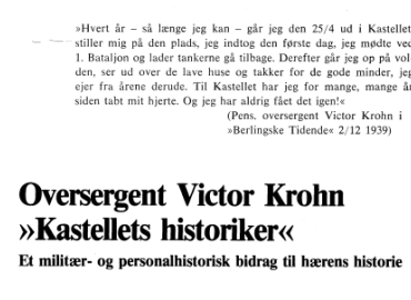 Oversergent Victor Krohn »Kastellets historiker«