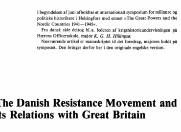 The Danish Resistance Movement and its Relations with Great Britain