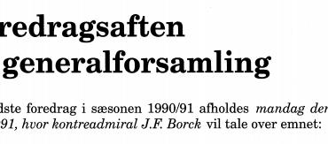 Foredragsaften og generalforsamling 1991