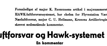 Luftforsvar og Hawk-systemet - En kommentar