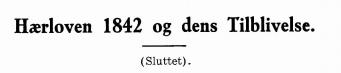 Hærloven 1842 og dens Tilblivelse (sluttet)