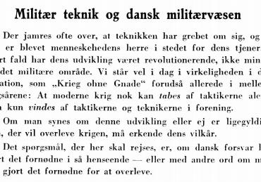 Militær teknik og dansk militærvæsen