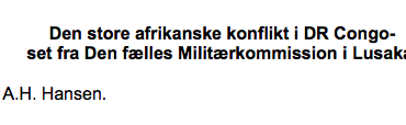 Den store afrikanske konflikt i DR Congo set fra Den fælles Militærkommission i Lusaka