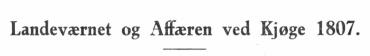 Landeværnet og Affæren ved Kjøge 1807