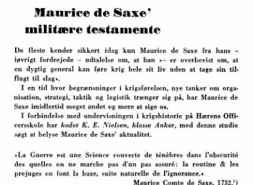 Maurice de Saxe' militære testamente