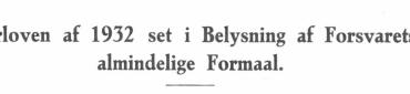 Hærloven af 1932 set i Belysning af Forsvarets almindelige Formaal