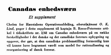Canadas enhedsværn - Et supplement