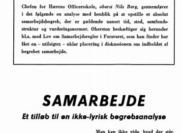 SAMARBEJDE - Et tilløb til en ikke-lyrisk begrebsanalyse