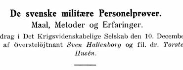 De svenske militære Personelprøver