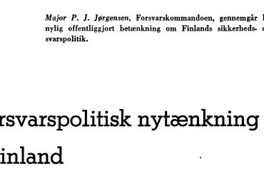 Forsvarspolitisk nytænkning i Finland