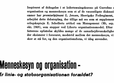 Menneskesyn og organisation: Er linie- og stabsorganisationen forældet?