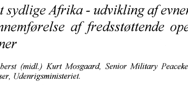 Det sydlige Afrika - udvikling af evnen til gennemførelse af fredsstøttende operationer