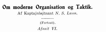 Om moderne Organisation og Taktik (fortsat)