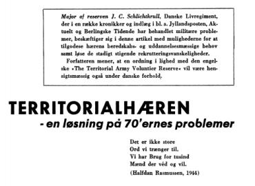 Territorialhæren - en løsning på 70'ernes problem