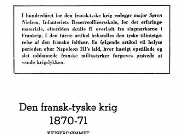 Den fransk-tyske krig 1870-71 - KEJSERDØMMET