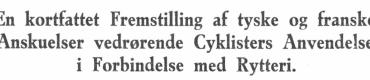 En kortfattet Fremstilling af tyske og franske Anskuelser vedrørende Cyklisters Anvendelse i Forbindelse med Rytteri