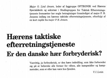 Hærens taktiske efterretningstjeneste: Er den danske hær forbryderisk?