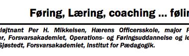 Føring, Læring, coaching … føling!