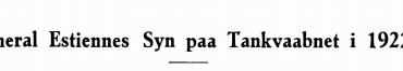 General Estiennes Syn paa Tankvaabnet i 1922
