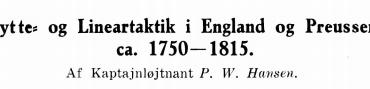 Skytte- og Lineartaktik i England og Preussen ca. 1750-1815