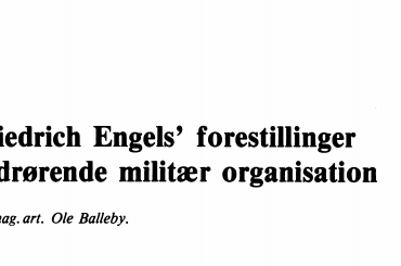 Friedrich Engels' forestillinger vedrørende militær organisation