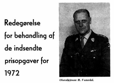 Redegørelse for behandling af de indsendte prisopgaver for 1972