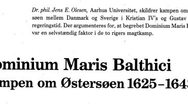 Dominium Maris Balthici Kampen om Østersøen 1625-1643