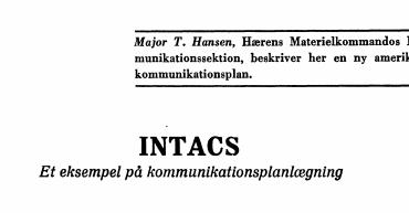 INTACS: Et eksempel på kommunikationsplanlægning