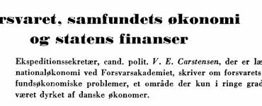 Forsvaret, samfundets økonomi og statens finanser
