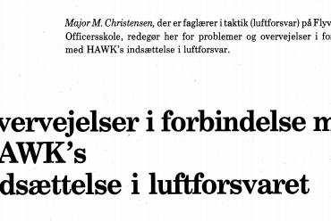 Overvejelser i forbindelse med HAWK's indsættelse i luftforsvaret