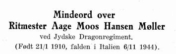 Mindeord over Ritmester Aage Moos Hansen Møller