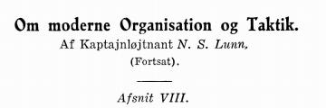 Om moderne Organisation og Taktik (fortsættes)