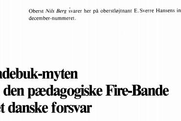 Syndebuk-myten om den pædagogiske Ure-Bande i det danske forsvar