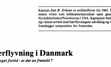 Hærflyvning i Danmark - en broget fortid - er der en fremtid?