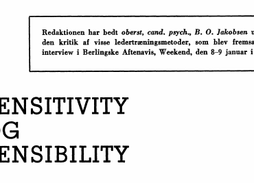 SENSITIVITY OG SENSIBILITY